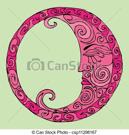 Clip Art Vector of pink moon illustration in oriental style.