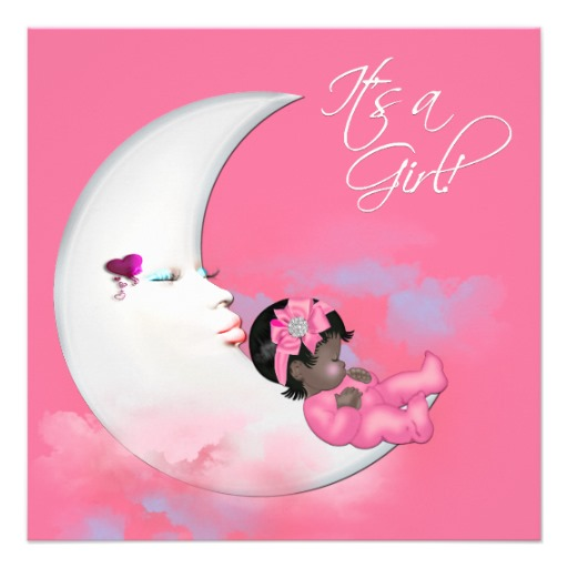 African American Baby Girl Shower Invitations This Cute Pink Moon.