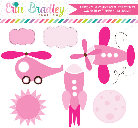 Girls Transportation Clipart, Airplane Clipart, To the Moon Clip.