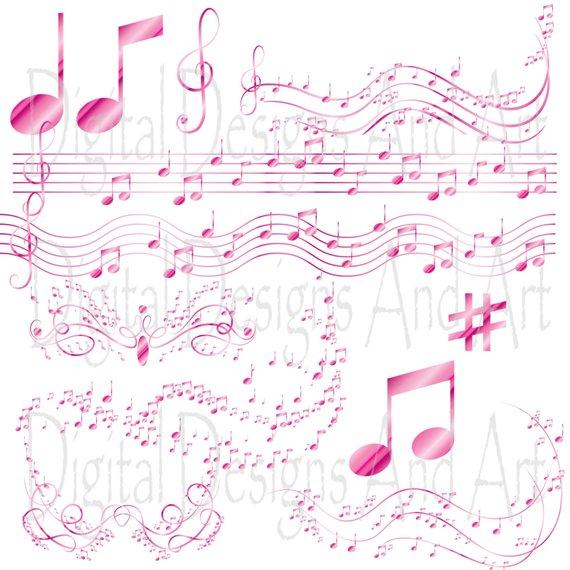 Pink music notes clipart, Musical clip art, Digital Clipart.
