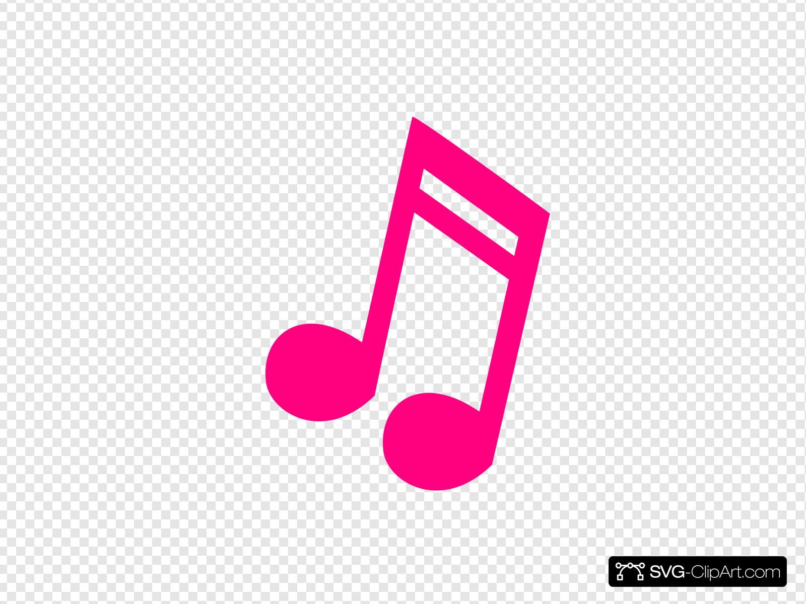 Hot Pink Music Note Clip art, Icon and SVG.