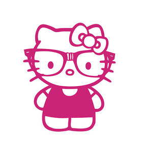 Hello Kitty Nerd Glasses Pink Vinyl Decal Sticker CUSTOM.