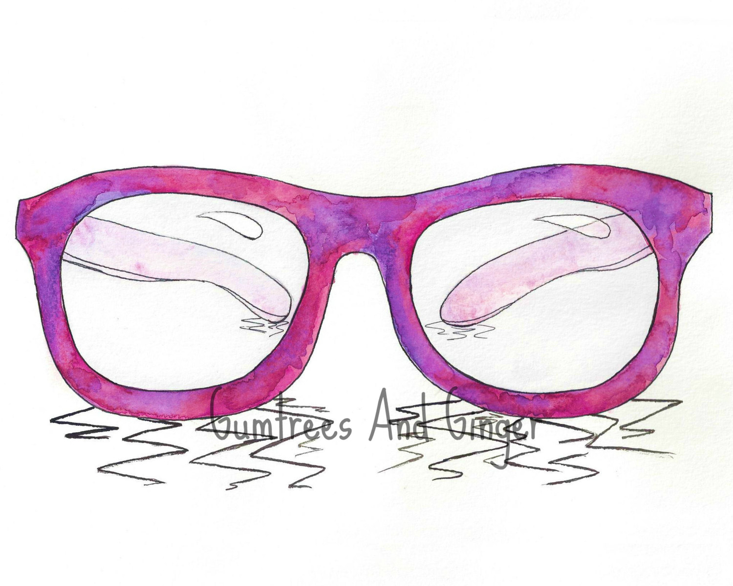 Pink And Purple Hipster Frames PRINT Nerd Glasses Girl Room.