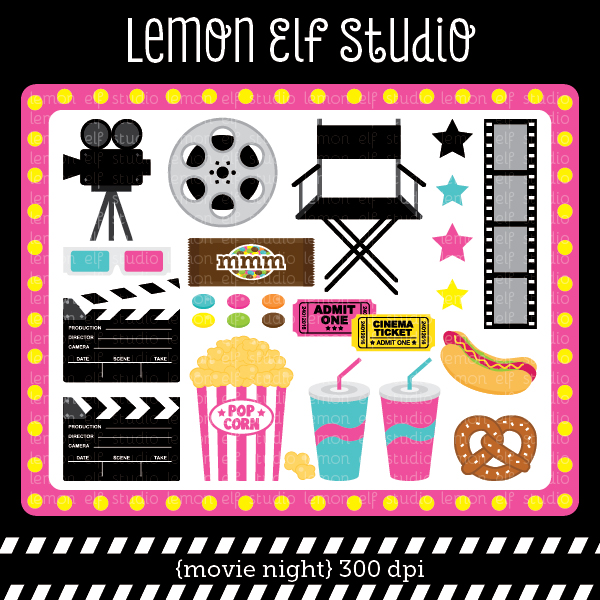 Movie Night Pink Digital Clipart.