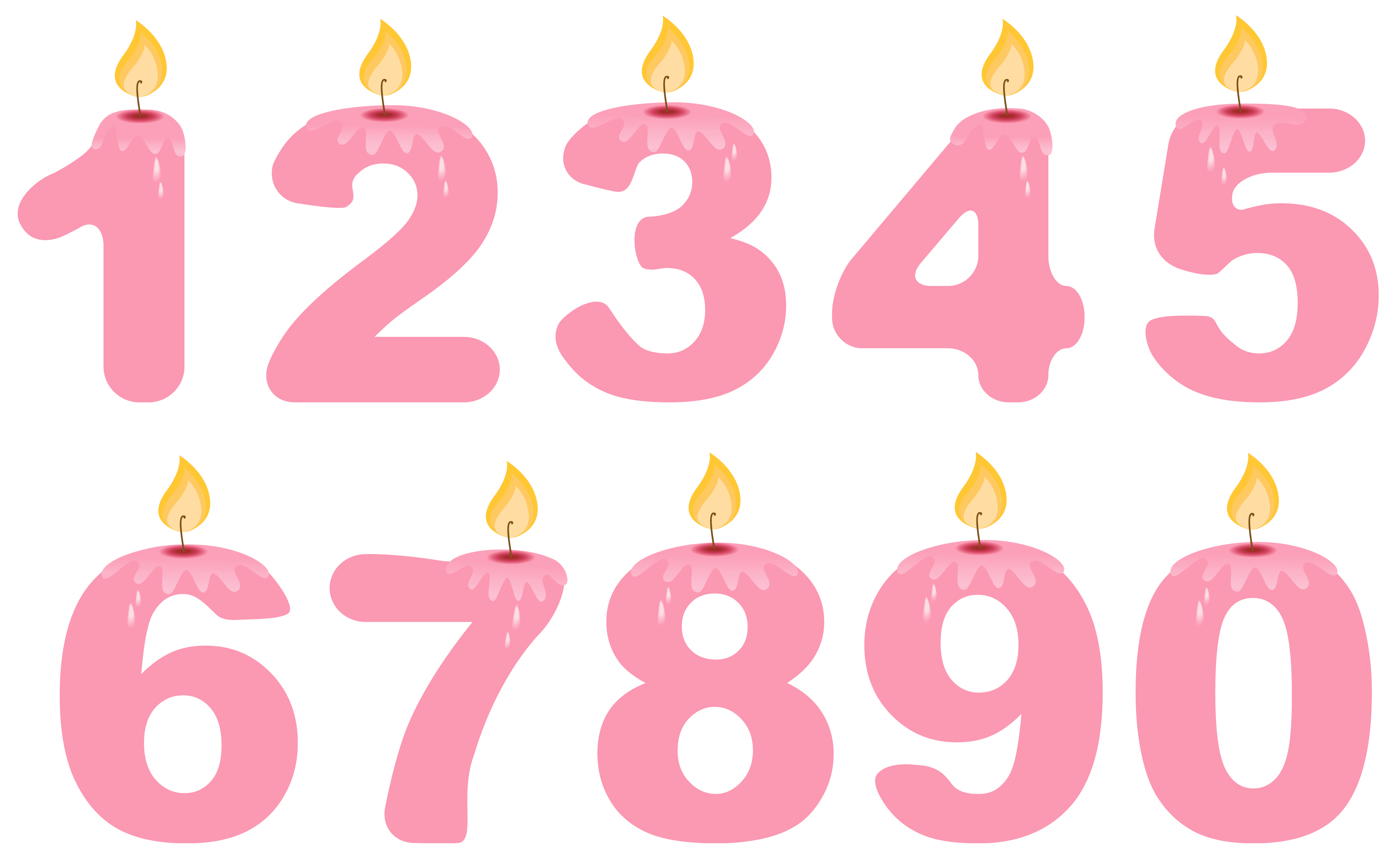 Transparent Numbers Birthday Candles Pink PNG Clipart.
