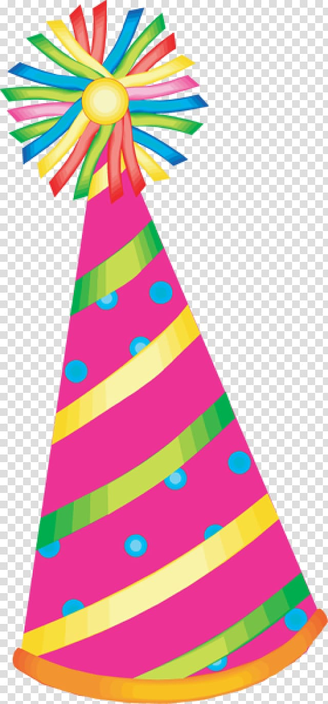 Pink, yellow, and green striped party hat art, Party hat.