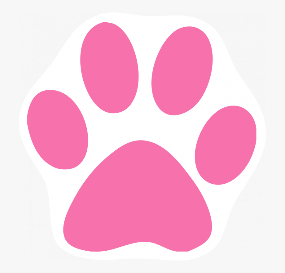 Pink Cat Paw Print Clip Art.