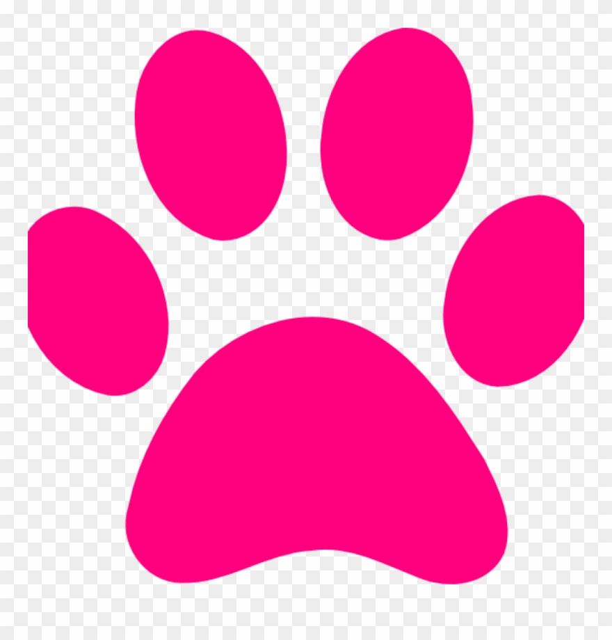 Dog Paw Clip Art Pink Print Transparent Background.