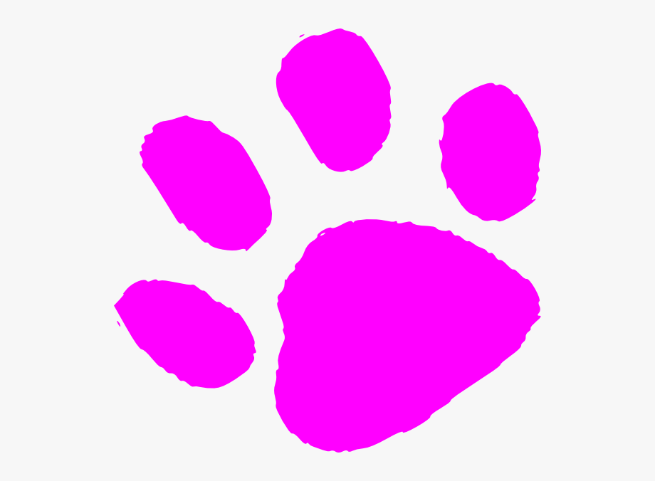 Pink Paw Print 123 Clip Art.