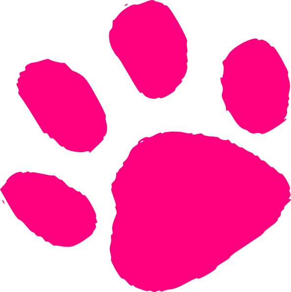 Pink Paw Print At Clkercom Vector Online Royalty clipart.