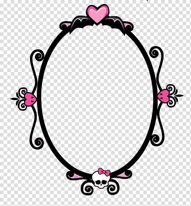 Monster High, oval black and pink frame transparent.