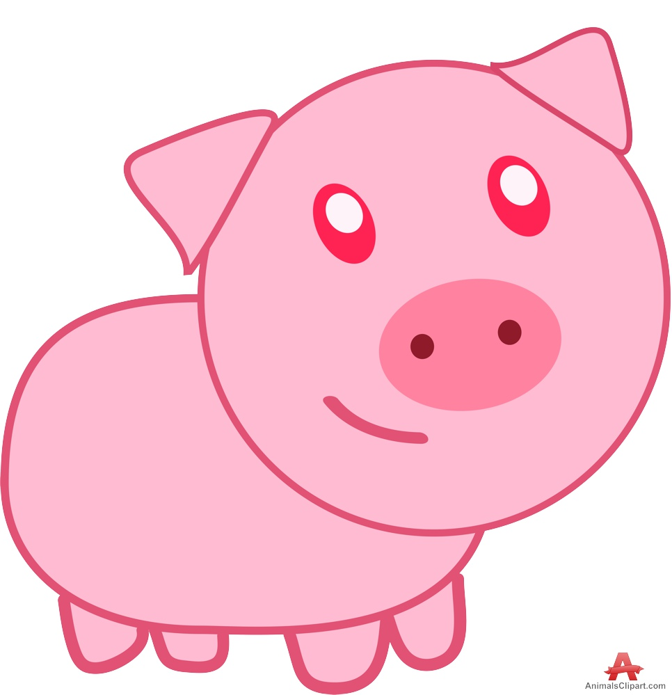 Catoon pink pig clipart free clipart design download.