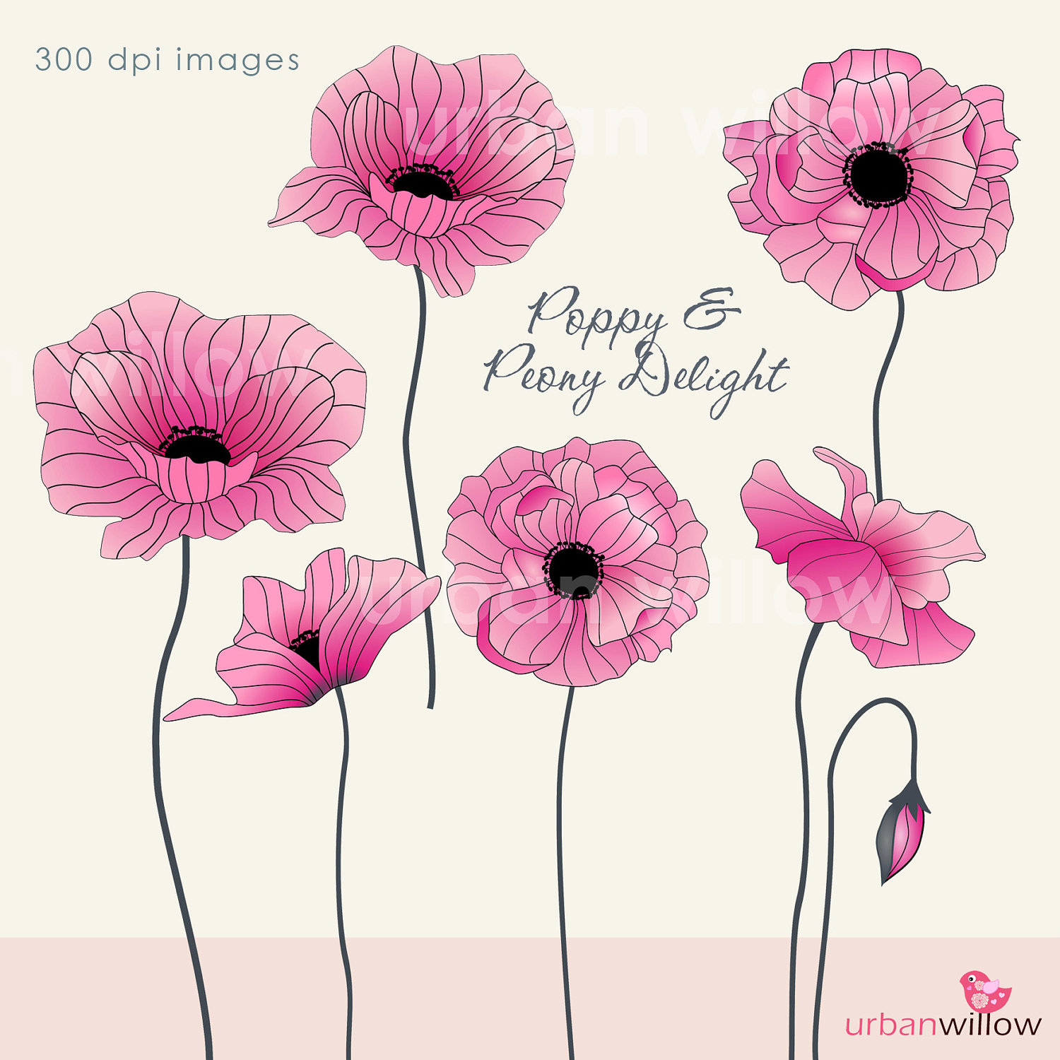 Pink poppy clipart clipground clip art peonies pictures with pink poppy flowers and butterflies mightylinksfo