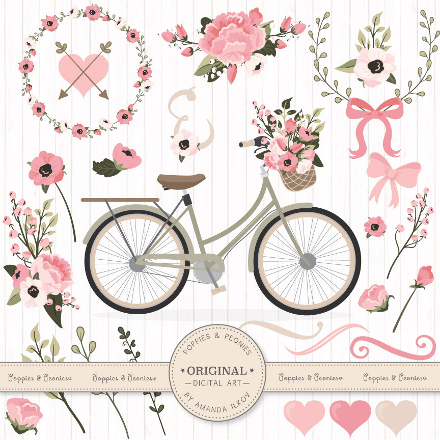 Soft Pink Poppies & Peonies Floral Bicycle Clip Art Set.