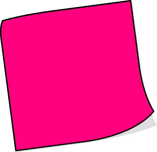 Pink Post It Note Clipart.