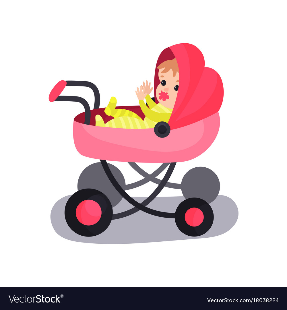 Lovely baby in a pink modern pram transporting of.