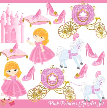 Pink Princess Pink Royal Carriage Pink Castle Clipart Set.