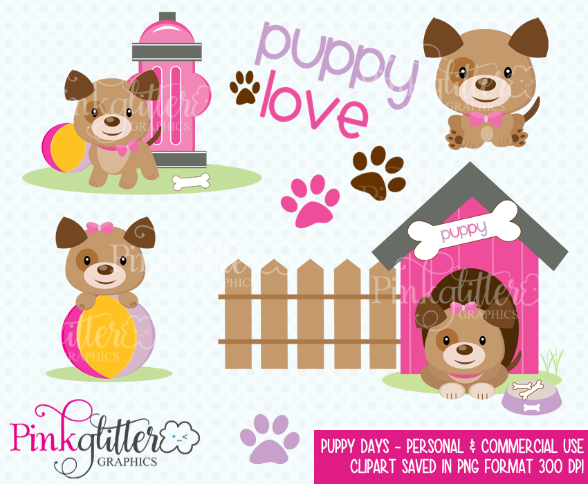 Pink Puppy Days Clipart.