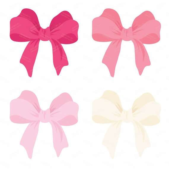 Large Pink Vector Bows Clipart.