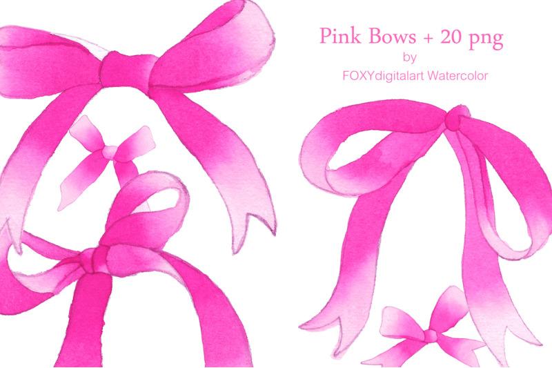 Watercolor silk bows pink ribbons clipart By FOXYdigitalart.