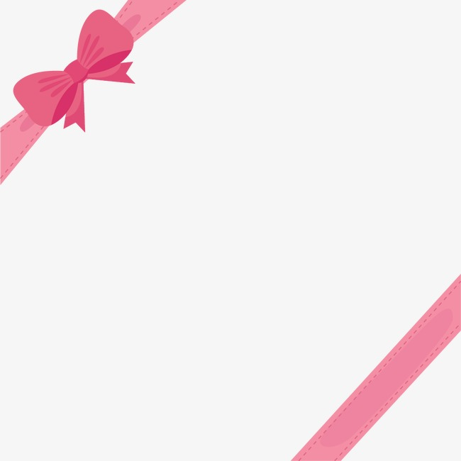 Cute Pink Ribbon Bow Border, Ribbon Vector, Bow Vector.