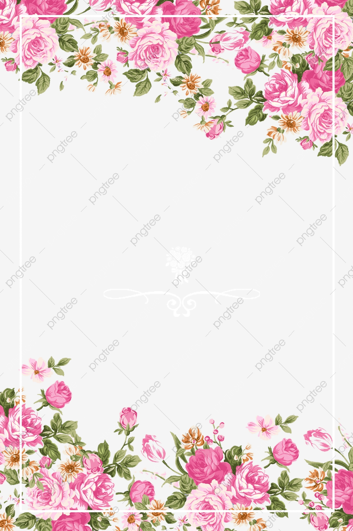 Pink Roses Border, Pink, Hand Painted, Rose PNG Transparent.