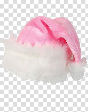 Christmas, pink and white Santa hat transparent background.