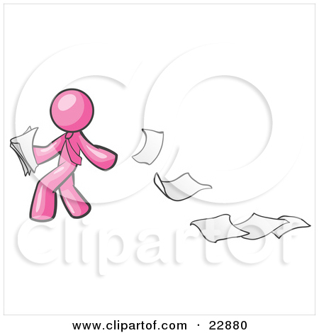 Clipart Illustration of a Pink Man Dropping White Sheets Of Paper.