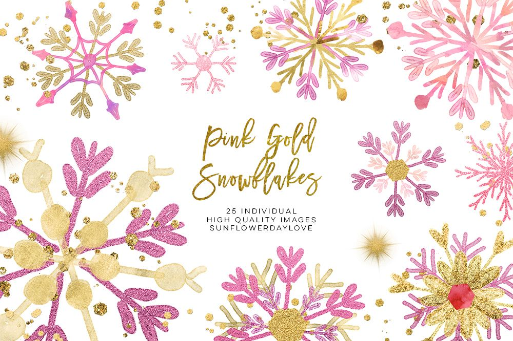 pink gold snowflakes clipart, winter snowflakes clip art.