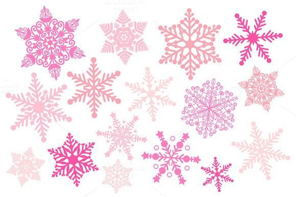 Pink Snowflake Silhouette Clipart. Printables. $3.00 in 2019.