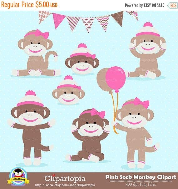 50% OFF SALE PINK Sock Monkey Digital clipart Girl Monkey.