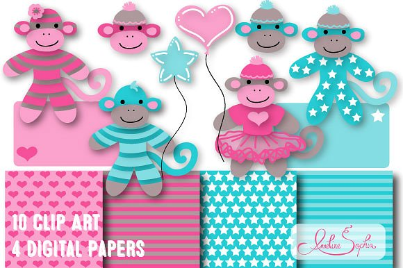 Sock Monkey Clip Art and Paper Set ~ Graphics on Creative Market.
