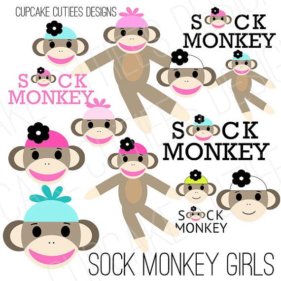 Sock Monkey Girls Digital Clip art Commercial Use Art InStaNt.