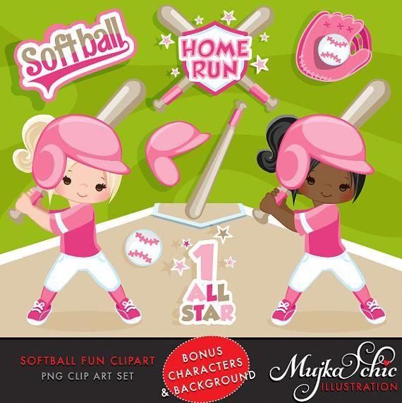 Softball Clipart. Pink Baseball graphics, baseball players.