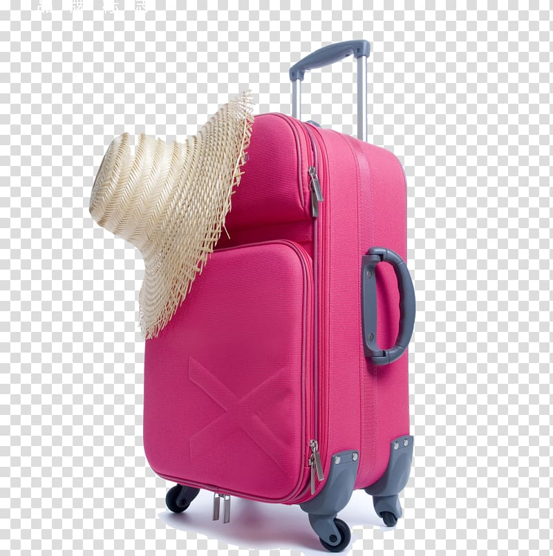 Air travel Travel Agent Suitcase Baggage, Pink straw hat and.