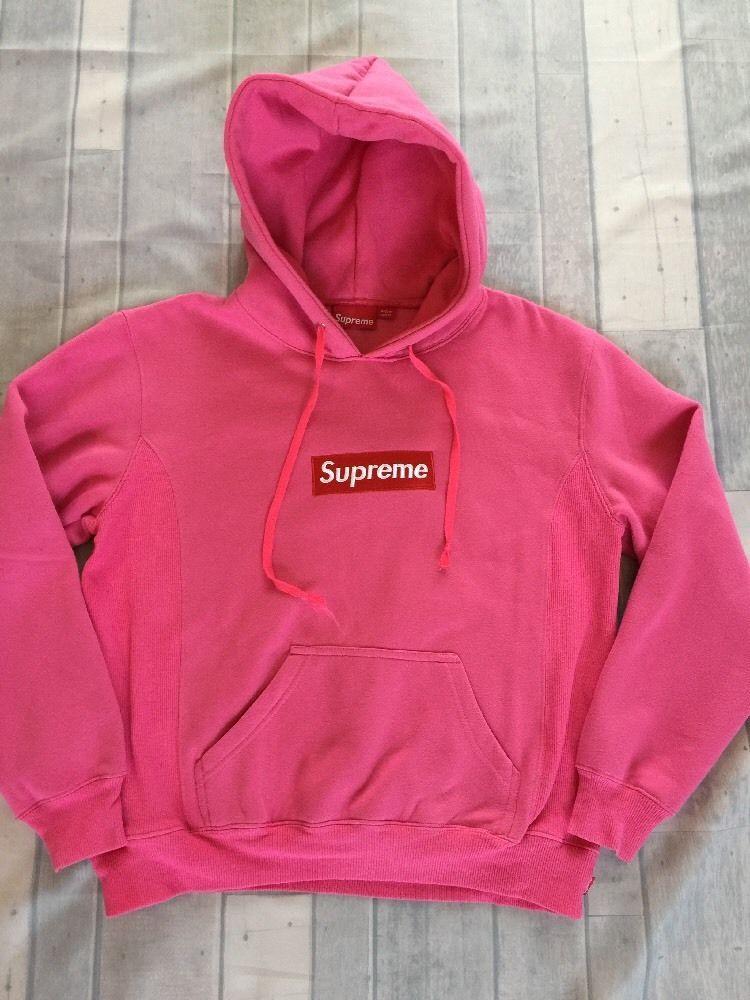 Details about Supreme Box Logo Sweatshirt Pink Size Medium.