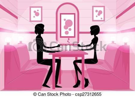 Clipart Vector of Couple Sitting Cafe Table Drink Coffee Romantic.