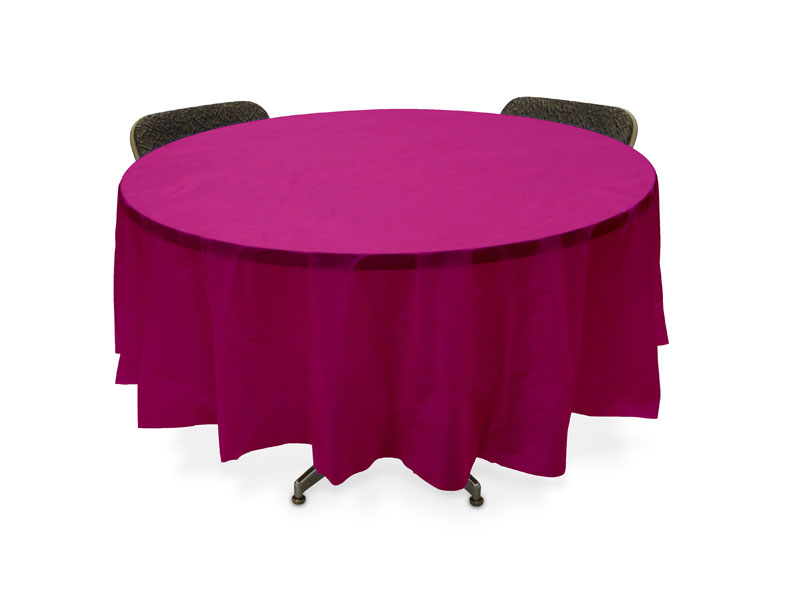 Round Table With Pink Cloth Clipart.