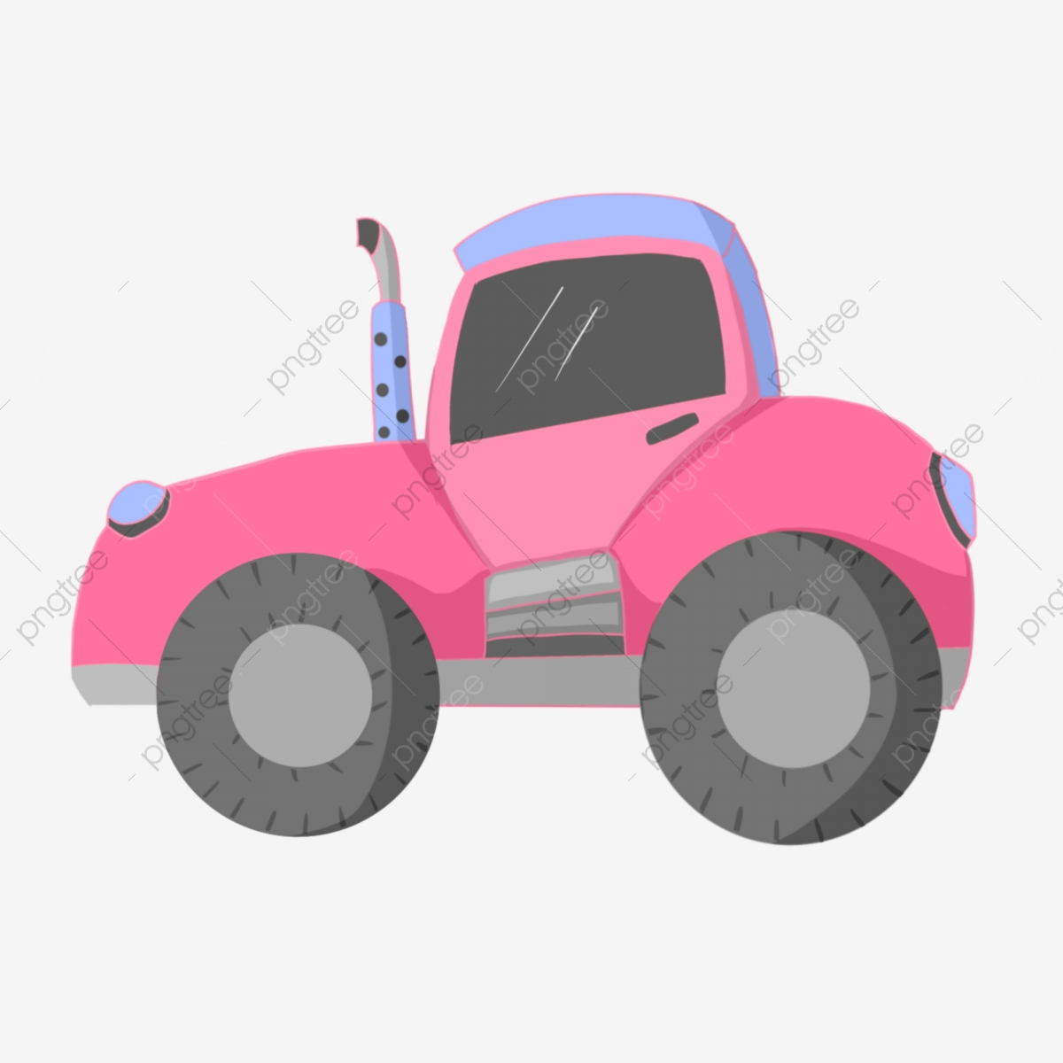 Pink Tractor Pulling Tractor Cartoon Illustration Hand Drawn.