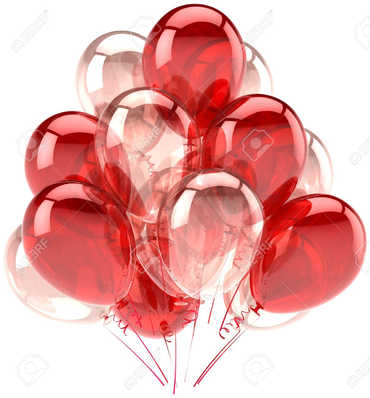 Balloons Party Birthday Red Pink Translucent. Decoration Of.