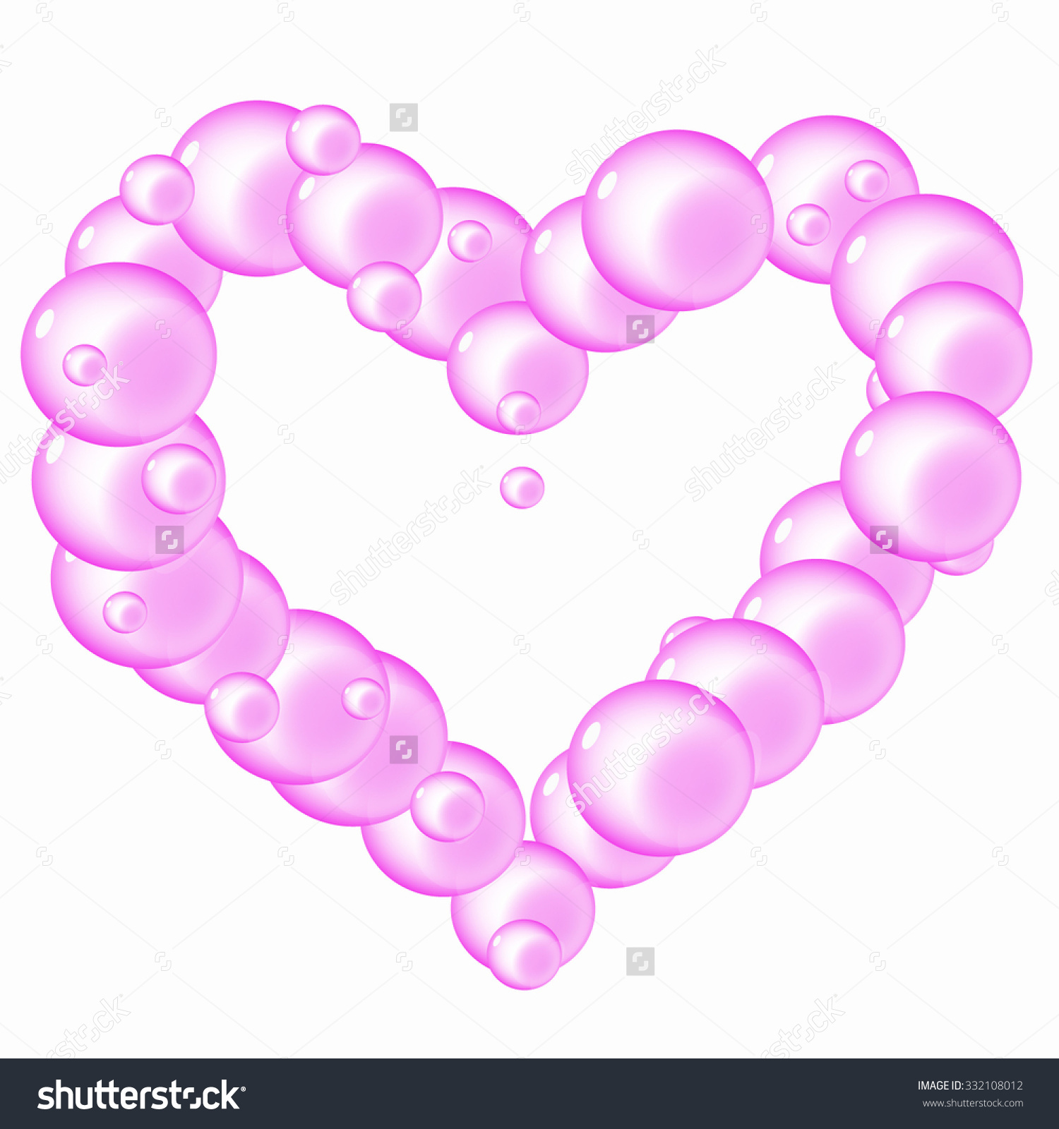 Translucent Soap Bubbles Flying Pink Heart Stock Vector 332108012.