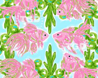 Preppy Sea Turtle clip art Preppy pink sea by TraceyGurleyDesigns.