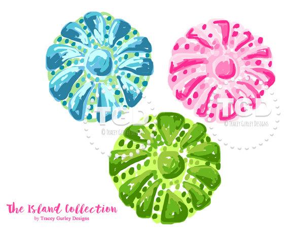 Preppy Sea Urchin clip art pink green by TraceyGurleyDesigns.