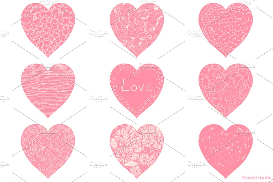 Pink Valentine hearts clipart set.