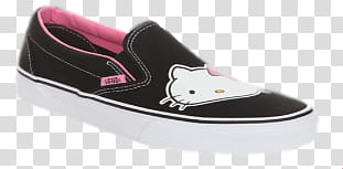 Hello Kitty Set, black and pink Vans suede slip.