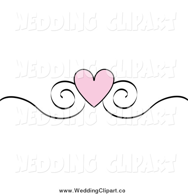 Vector Marriage Clipart Of A Pink Heart And Sketched Black Scroll Design Edge Border
