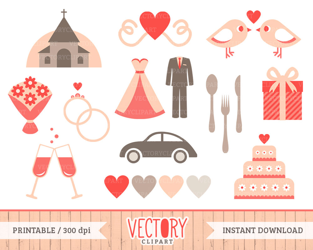 18 Wedding Clip Art, Bridal Clipart for Wedding Invitation, Pink.