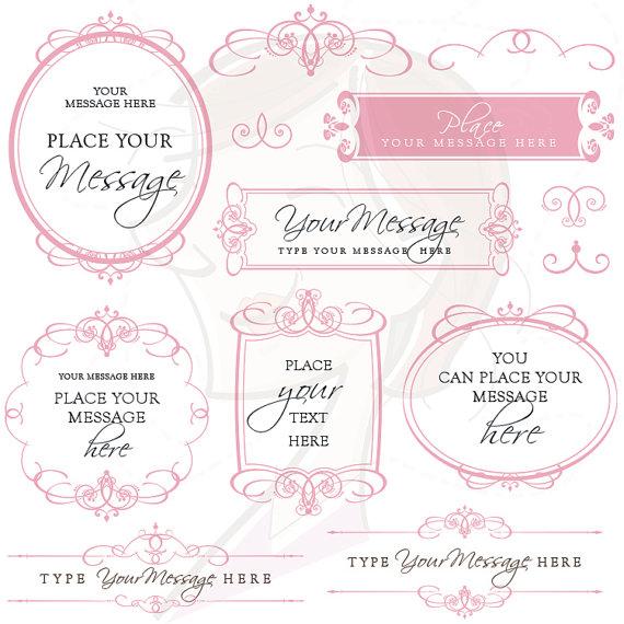 Calligraphy Swirls Wedding Clip Art Blush Pink Floral Border Fancy.