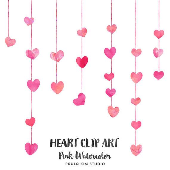 Pink Watercolor Heart Clip Art Wedding Clip Art Commercial.