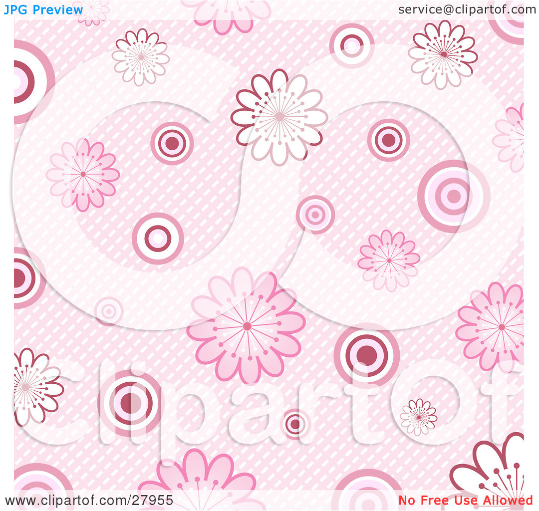 Clipart Illustration of a Retro Pink Background Of White And Pink.